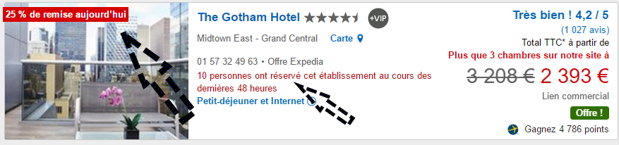 messages oppressants sur Expedia