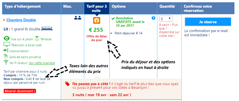 taxes peu visibles sur Booking.com