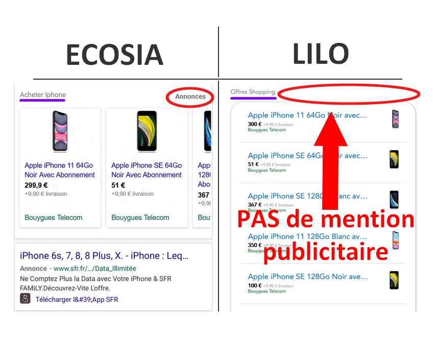 absence mention publicitaire lilo en comparaison avec Ecosia